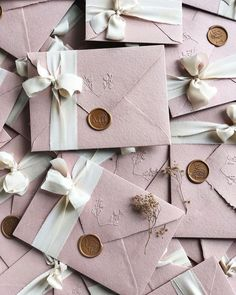 Dusty pink wedding invitations on handmade paper envelopes embossed with . - Dusty pink wedding invitations on handmade paper envelopes embossed silk ribbon and custom wax seal - Rustic Wedding Invitations, Wedding Invitation Video, Pink Invitations, Watercolor Wedding Invitations, Elegant Wedding Invitations, Wedding Stationary, Handmade Invitations, Invitation Kits, Invites
