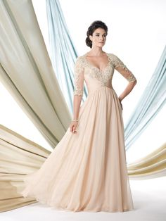 Tensi chiffon full A-line gown with hand-beaded lace elbow-length sleeves, Queen Anne neckline, lace empire bodice features center gathered chiffon midriff accented with jewels and keyhole back, gathered skirt with sweep train, suitable as a mother of the bride dress or a formal gown. Sizes:4 – 20,16W – 26W