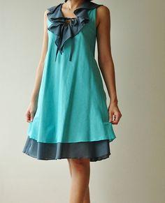 Twist....Blue Cotton dress by aftershowershop on Etsy, $40.50