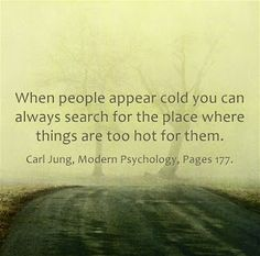 When people appear cold you can always search for the place where things are too hot for them. ~Carl Jung, Modern Psychology, Page 177.