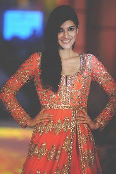 Actress Kriti Sanon (Heropanti fame) ...for the love of anarkali palette swatch color orange gold