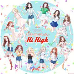 Loona Hi high Kpop Girl Groups, Korean Girl Groups, Kpop Girls, Chibi, Fandom Kpop, Twice Fanart, Kpop Drawings, Fan Art, Kpop Fanart