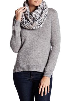 Metallic Accent Knit Infinity Scarf