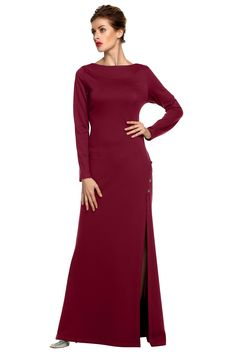 Women Party O-Neck Sexy Side Slit Maxi Solid Backless Evening Dresses