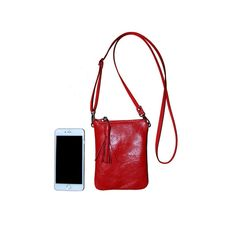 Red Leather Crossbody Phone Purse Leather iPhone by ChiqueFabrique
