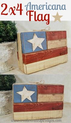 http://creativemeinspiredyou.com/shes-a-grand-old-flag/ What a great project, and I love how easy it is, projects for guys can be hard to find!
