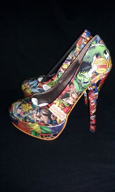 Avengers Custom Comic Book Heels. Make yourself with modge podge and some old comics.