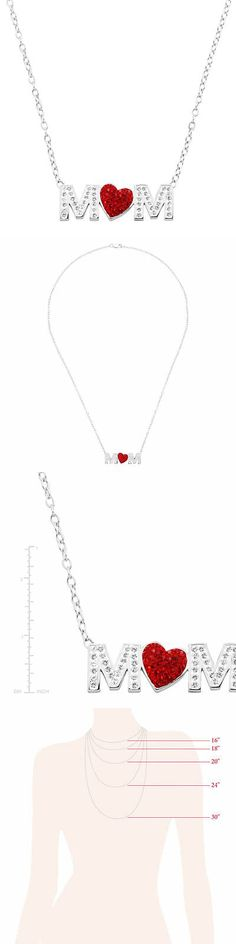 533653efc Other Fine Necklaces Pendants 164334: Crystaluxe Mom Red Heart Necklace  With Swarovski Crystals In Sterling