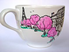 Parisian Cherry Blossom Spring Hand Painted by OverseasSipping, $22.00
