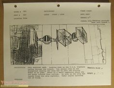 Star Wars: Storyboard of Darth Vader's Tie Fighter in the Death Star trench scene...