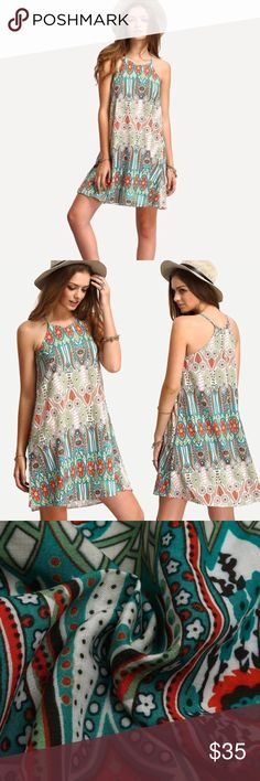 Tribal Colorful Floral Sun Tank Dress Gorgeous colors, very comfortable for the summer time. Accepting offers. Very flattering and well made 💜 Dresses