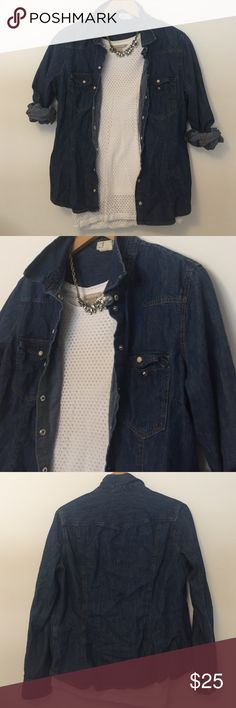 &Shirt | Denim Chambray Button up Very adorable western inspired chambray top. Snap buttons with marble detailing down the front and at each cuff. Darting throughout so it can give you shape. You literally can pair this top with any shirt or dress ❤️. Perfect condition. 💕Reasonable offers are always accepted. &Shirt Tops Button Down Shirts