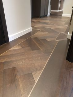 Istoria Bespoke Onyx has a lovely gentle effect that matches well with any look of the interior. The flooring was complimented by antique brass trim. Wood Floor Design, Wood Floor Pattern, Herringbone Wood Floor, Floor Patterns, Herringbone Pattern, Wood Plank Tile, Wood Tile Floors, Wooden Flooring, Apartment Interior
