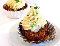 Meatloaf cupcake with a mashed poatoe frosting. A man's cupcake :D