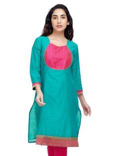 #A-Line #Chanderi #silk #kurta with #contrast #yoke. #DesignsByKavitaS from #LifestyleRetail