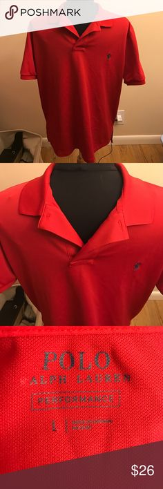 Polo Ralph Lauren performance polo shirt Size large red performance polo. In great condition! Polo by Ralph Lauren Shirts Polos