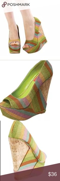 """Green & natural striped wedges w/ cork heel Must have colorful cute wedges. A summer essential that never goes out of style!multi-color beige, green, yellow and turquoise stripe canvas,open toe, slip on closed back wedge Perfect to wear with shorts, sundresses, rompers, maxi dresses, capris etc! Very versatile style 5.75"""" heel 2"""" platform Personally, this runs a bit large for me, I usually wear an 8-8.5 but opted for an 8. It is up to you though. Just giving a guideline when I can Fahrenheit…"""