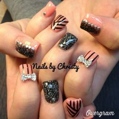 Cute but without the bows (Nails by Christy)