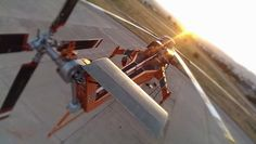 """Stunning sunset shot from above and behind """"Gypsy Lad"""" Chopper (Courtesy Karl Karja)."""