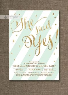 Mint Wedding Inspiration - invitations with gold