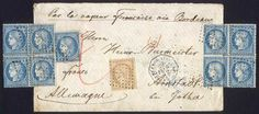 "29/FE/1872 Buenos Aires - Arnstadt (Germany): Cover with double rate paid to destination (P.D.) with 9 stamps of 25c. and one of 15c. Ceres small figures (1871/5 issue). It received the octagonal handstamp of the steamship Sindh: ""BUENOS AIRES - PAQ. FR. J Nº3"". On reverse it bears a transit handstamp ""PARIS ETRANGER"" in blue, and arrival of Arnstadt for 1/AP/1872, VF quality, fantastic!    Dealer  Guillermo Jalil-Philatino    Auction  Minimum Bid:  1000.00 US$"