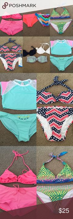 Victoria's Secret Pink Swimsuit Bikini Bundle NWT swimsuit bikini bundles in the size medium/large. Contains 4 bikini sets, 3 bikini tops, and 2 bikini bottoms. They are from the brands Victoria's Secret Pink, Catalina, and OP.  Most are new with tags, they have never been worn and are in excellent condition. The others have been worn a handful of times and are in good condition.   Thank you for visiting my closet! I consider offers and I do not trade. PINK Victoria's Secret Swim Bikinis