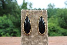 Peach Roots - Black/Gold Elongated Teardrop Earrings, $10.00 (http://peachroots.com/black-gold-elongated-teardrop-earrings/)