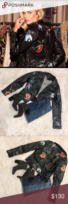Studded and embroidered vegan leather jacket An AMAZING studded and embroidered vegan leather jacket that fits in all the right places 😊 Jackets & Coats