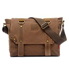 """Zlyc Retro Unisex Canvas Leather Messenger Shoulder Bag Fits 13.3"""" Laptop Color Coffee ZLYC http://www.amazon.com/dp/B00LMQW21G/ref=cm_sw_r_pi_dp_jUQ-tb0610WHV"""