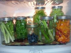 New obsession with these mason jars and my foodsaver . Cut veggies at beginning of the week, vac seal, and they'll stay fresh all week. Makes weekday dinners less stressful. After using. some, reseal.plus you can see what you have. This is actually MY refrigerator