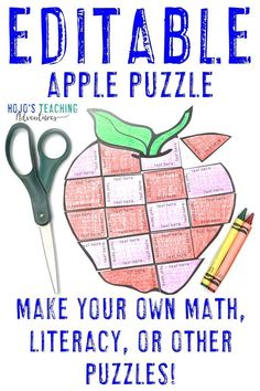 This EDITABLE Apple Math Activity is great for 1st, 2nd, 3rd, 4th, 5th, or 6th grade students. Create your own math, literacy, foreign language, or other activity for centers, stations, early or fast finishers, review, test prep, back to school, a Johnny Appleseed unit, or anytime during the fall months. Click through now to learn more, grab a FREE printable, have some fun, work on your fine motor cutting skills, and more. #HoJoTeaches #AppleMathCenters #EditableActivity Apple Activities, Grammar Activities, Math Literacy, Activities For Kids, 5th Grade Classroom, Middle School Classroom, Apple Life Cycle, Fast Finishers, Critical Thinking Skills