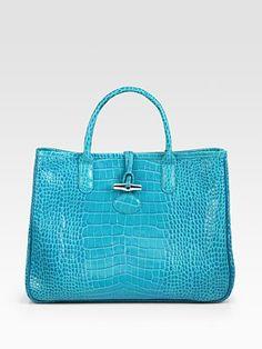 Longchamp Roseau Croc-Embellished Leather Tote Bag