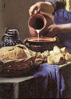 The Milkmaid. oil on x 41 cm.Ян Вермеер, Vermeer Van Delft - The Milkmaid Johannes Vermeer, Delft, Dutch Artists, Famous Artists, The Milkmaid Vermeer, Vermeer Paintings, Baroque Painting, Dutch Golden Age, Dutch Painters