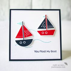 """Jean Manis:Right as Rain - """"My Favorite Things – Another CAS Nautical Card – 7/10/17.  (MFT: dies/stamps: Float My Boat).  (Pin#1:  Die/stamp: MFT.  Pin+: Nautical...; Children: Boys)."""