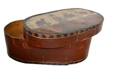 18th Century Painted Wooden Hat Box  HEIGHT:8.27 in. (21 cm) WIDTH:25.2 in. (64 cm) DEPTH:13.39 in. (34 cm)