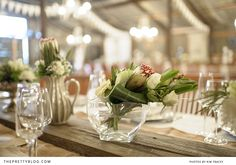 Table flowers- proteas & roses | Photography: Kim Tracey, Flowers: The Green Chameleon