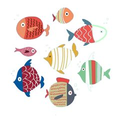 Motif Simple, Simple Art, Fish Illustration, Illustrations, Pottery Painting, Diy Painting, Painted Rocks, Hand Painted, Fish Quilt