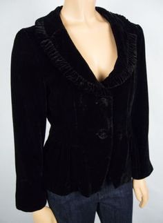 NANETTE LEPORE Black Velour Jacket 10 M Fan Pleat Rear Soft Shine Career Blazer