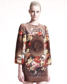 Neoclassical-Print Shift Dress by Dolce & Gabbana at Bergdorf Goodman.