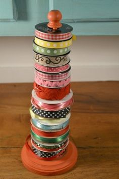 Stack your ribbons on a paper towel holder — you'll be able to see all your options, and unspool each ribbon when you want to use it. 22 Smart Holiday Tricks That Are Actually Practical Ribbon Organization, Ribbon Storage, Sewing Room Organization, Craft Room Storage, Diy Ribbon, Ribbon Crafts, Ribbon Sewing, Tape Storage, Craft Rooms