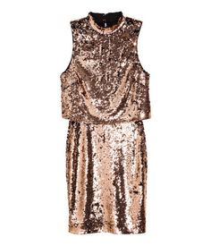Bronze-colored. Sleeveless, knee-length dress in sequined jersey. Stand-up collar with buttons at back of neck. Double-layer upper section with