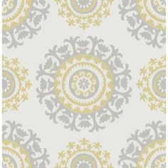 Found it at AllModern - Grey and Yellow Suzani Peel And Stick Wallpaper
