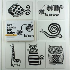black and white baby flash cards elephant set by nest | notonthehighstreet.com