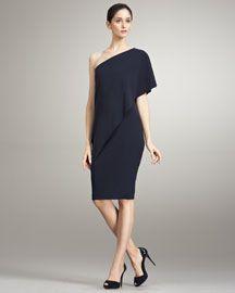 Ralph Lauren Collection Wool One-Shoulder Dress.