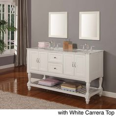 60-inch Pearl White Mission Turnleg Double Sink Vanity-Overstock.com....for the basement bathroom?
