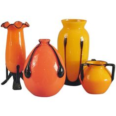 Quartet of Michael Powolny Art Deco Glass Vases, Applied Decorations | From a unique collection of antique and modern vases at http://www.1stdibs.com/furniture/dining-entertaining/vases/