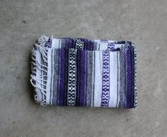 Vintage Mexican Blanket Purple Black White Gray by QUIVERreclaimed