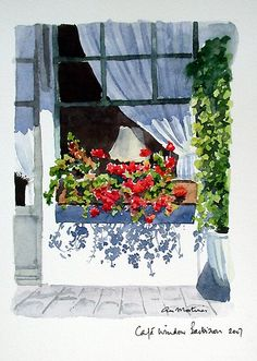'Café Window' Poster by Ann Mortimer Watercolor Sketch, Watercolor Artists, Watercolor Cards, Watercolor Illustration, Watercolour Painting, Watercolor Flowers, Watercolors, Watercolor Architecture, Watercolor Landscape