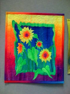 Frieda Anderson Sunflower Art Quilt note color background