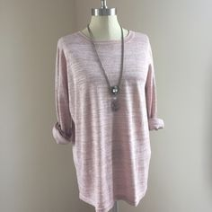 Button back sweater Cute light pink sweater! Has a slight shimmer to it. Crew neck, size xl. Buttons up the back. Washed, not worn. MNG Basics by Mango  No trades No ️aypal No Merc ✅Posh Rules ✅Use Offer Button ✅Bundle for 15% off  Instagram @BeThriftyChic Mango Sweaters Crew & Scoop Necks